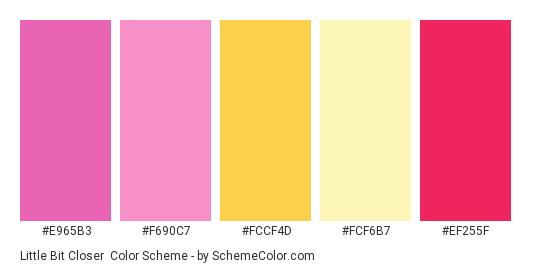 Little Bit Closer - Color scheme palette thumbnail - #E965B3 #F690C7 #FCCF4D #fcf6b7 #EF255F