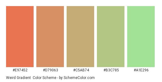 Weird Gradient - Color scheme palette thumbnail - #E97452 #D79063 #C5AB74 #B3C785 #A1E296