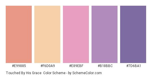 Touched by His Grace - Color scheme palette thumbnail - #E99885 #F6D0A9 #E89EBF #B18BBC #7D6BA1