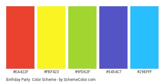 Birthday Party - Color scheme palette thumbnail - #EA422F #FBF423 #9FD62F #5454C7 #29BFFF