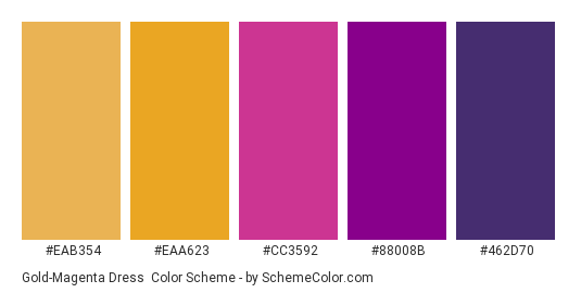 Gold-Magenta Dress - Color scheme palette thumbnail - #EAB354 #EAA623 #CC3592 #88008B #462D70