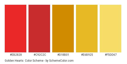 Golden Hearts - Color scheme palette thumbnail - #EB2828 #C92C2C #D18B01 #E6B925 #F5DD67