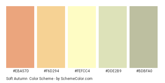 Soft Autumn - Color scheme palette thumbnail - #EBA57D #F6D294 #FEFCC4 #DDE2B9 #BDBFA0