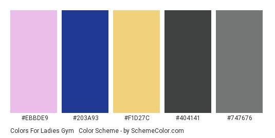 Colors for Ladies Gym #2 - Color scheme palette thumbnail - #EBBDE9 #203A93 #F1D27C #404141 #747676