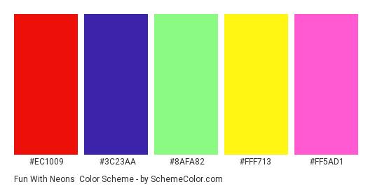 Fun with Neons - Color scheme palette thumbnail - #EC1009 #3C23AA #8AFA82 #FFF713 #FF5AD1