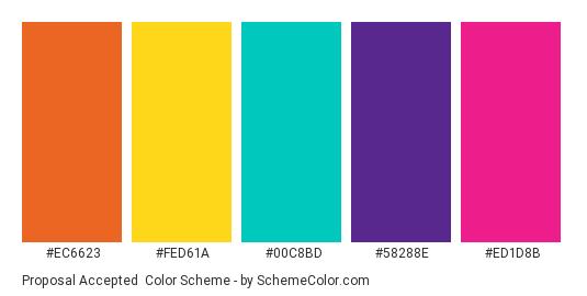 Proposal Accepted - Color scheme palette thumbnail - #EC6623 #FED61A #00C8BD #58288E #ED1D8B