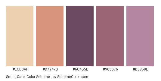 Smart Cafe - Color scheme palette thumbnail - #ECD0AF #D7947B #6C4B5E #9C6576 #B3859E