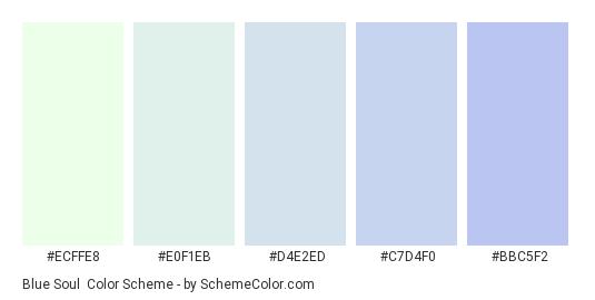 Blue Soul - Color scheme palette thumbnail - #ECFFE8 #E0F1EB #D4E2ED #C7D4F0 #BBC5F2