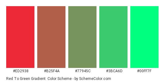 Red to Green Gradient - Color scheme palette thumbnail - #ED2938 #B25F4A #77945C #3BCA6D #00FF7F