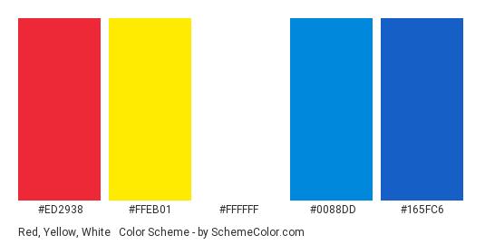 Red, Yellow, White & Blue - Color scheme palette thumbnail - #ED2938 #FFEB01 #FFFFFF #0088DD #165FC6