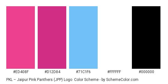 PKL – Jaipur Pink Panthers (JPP) Logo - Color scheme palette thumbnail - #ED408F #D12D84 #71C1F6 #FFFFFF #000000