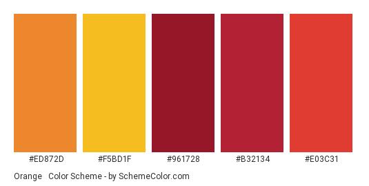 Orange & Red Autumn - Color scheme palette thumbnail - #ED872D #F5BD1F #961728 #B32134 #E03C31