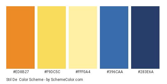 Stil De - Color scheme palette thumbnail - #ED8B27 #F9DC5C #FFF0A4 #396CAA #283E6A