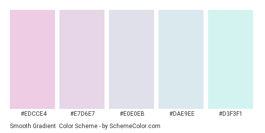 Smooth Gradient - Color scheme palette thumbnail - #EDCCE4 #E7D6E7 #E0E0EB #DAE9EE #D3F3F1