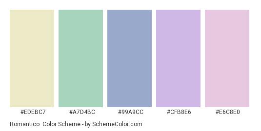 Romantico - Color scheme palette thumbnail - #EDEBC7 #A7D4BC #99A9CC #CFB8E6 #E6C8E0