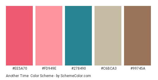 Another Time - Color scheme palette thumbnail - #EE5A70 #FD949E #278490 #C6BCA3 #99745A