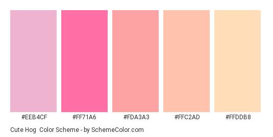 Cute Hog - Color scheme palette thumbnail - #EEB4CF #FF71A6 #FDA3A3 #FFC2AD #FFDDB8