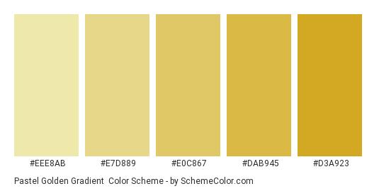 Pastel Golden Gradient - Color scheme palette thumbnail - #EEE8AB #E7D889 #E0C867 #DAB945 #D3A923