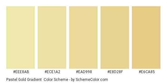 Pastel Gold Gradient - Color scheme palette thumbnail - #EEE8AB #ECE1A2 #EAD998 #E8D28F #E6CA85