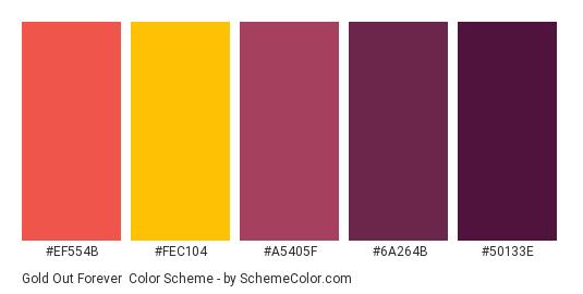 Gold Out Forever - Color scheme palette thumbnail - #EF554B #FEC104 #A5405F #6A264B #50133E