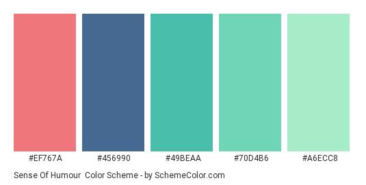 Sense of Humour - Color scheme palette thumbnail - #EF767A #456990 #49BEAA #70d4b6 #a6ecc8