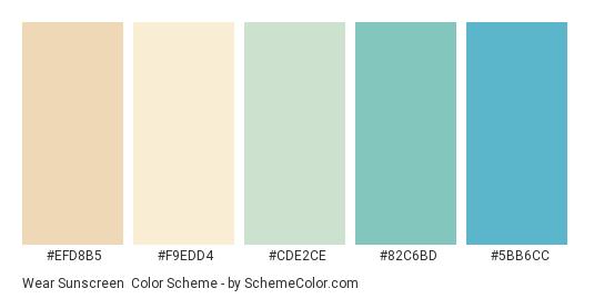 Wear Sunscreen - Color scheme palette thumbnail - #EFD8B5 #F9EDD4 #CDE2CE #82C6BD #5BB6CC