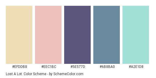 Lost a Lot - Color scheme palette thumbnail - #EFDDB8 #EEC1BC #5E577D #6B8BA0 #A2E1D8