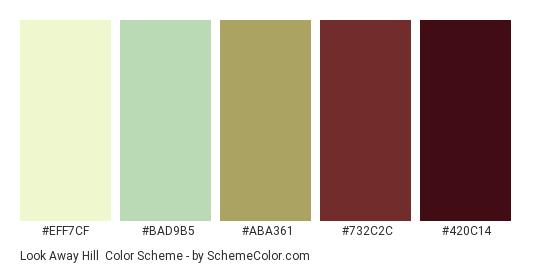 Look Away Hill - Color scheme palette thumbnail - #EFF7CF #BAD9B5 #ABA361 #732C2C #420C14