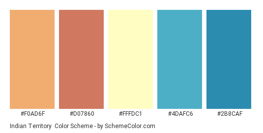Indian Territory - Color scheme palette thumbnail - #F0AD6F #D07860 #FFFDC1 #4DAFC6 #2B8CAF
