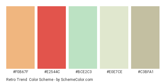 Retro Trend - Color scheme palette thumbnail - #F0B67F #E2544C #BCE2C3 #E0E7CE #C3BFA1