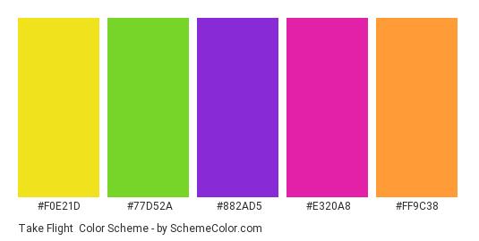 Take Flight - Color scheme palette thumbnail - #F0E21D #77D52A #882AD5 #E320A8 #FF9C38