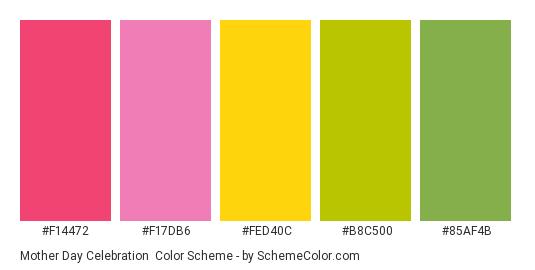 Mother Day Celebration - Color scheme palette thumbnail - #F14472 #F17DB6 #FED40C #B8C500 #85AF4B