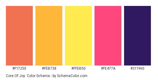 Core of Joy - Color scheme palette thumbnail - #F17250 #FEB738 #FFEB50 #FE477A #311960