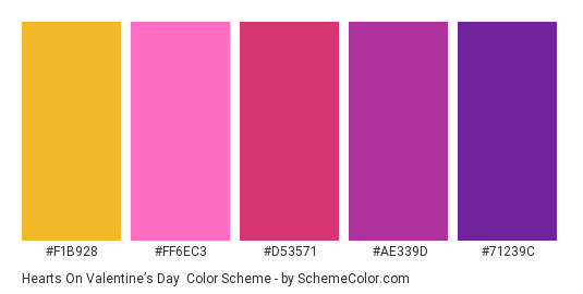 Hearts on Valentine's Day - Color scheme palette thumbnail - #F1B928 #FF6EC3 #D53571 #AE339D #71239C