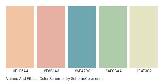 Values and Ethics - Color scheme palette thumbnail - #F1C5A4 #E6B1A3 #6ea7b0 #afccaa #e4e3c2