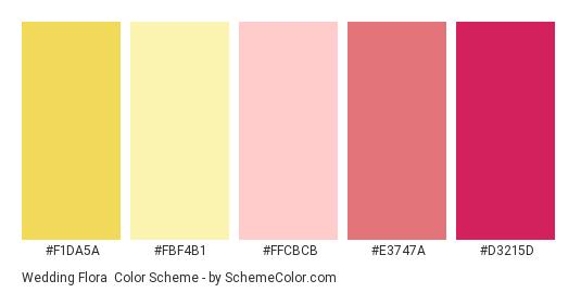 Wedding Flora - Color scheme palette thumbnail - #F1DA5A #FBF4B1 #FFCBCB #E3747A #D3215D