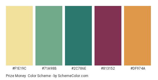 Prize Money - Color scheme palette thumbnail - #F1E19C #71A98B #2C786E #813152 #DF974A