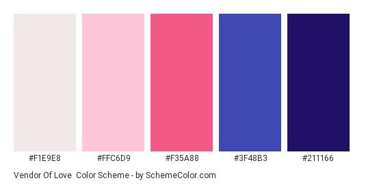 Vendor of Love - Color scheme palette thumbnail - #F1E9E8 #FFC6D9 #F35A88 #3F48B3 #211166
