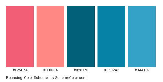 Bouncing - Color scheme palette thumbnail - #F25E74 #FF8884 #026178 #0682A6 #34A1C7
