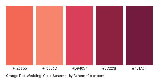 Orange-Red Wedding - Color scheme palette thumbnail - #F26855 #F6856D #D94057 #8C223F #731A3F