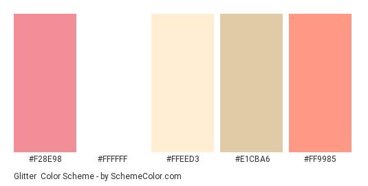 Glitter - Color scheme palette thumbnail - #F28E98 #FFFFFF #FFEED3 #E1CBA6 #FF9985