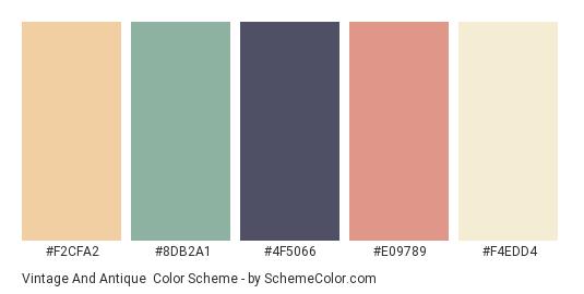 Vintage and Antique - Color scheme palette thumbnail - #F2CFA2 #8DB2A1 #4F5066 #E09789 #F4EDD4
