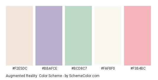 Augmented Reality - Color scheme palette thumbnail - #F2E5DC #BBAFCE #BCD8C7 #FAF8F0 #F3B4BC