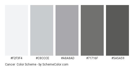 Cancer Color Scheme Palette Thumbnail F2f3f4 C8ccce A8a8ad 71716f