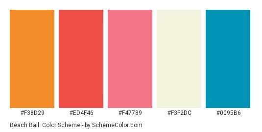 Beach Ball - Color scheme palette thumbnail - #F38D29 #ED4F46 #F47789 #F3F2DC #0095B6