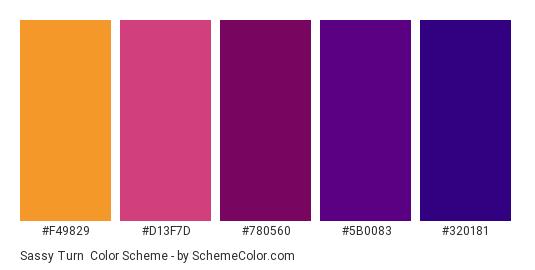 Sassy Turn - Color scheme palette thumbnail - #F49829 #D13F7D #780560 #5B0083 #320181