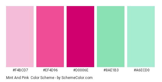 Mint and Pink - Color scheme palette thumbnail - #F4BCD7 #EF4D96 #D0006E #8AE1B3 #A6ECD0