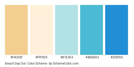 Beach Day Out - Color scheme palette thumbnail - #F4CE8F #FFF0D9 #B1E3E4 #4BBBD3 #208FD6