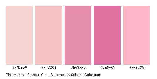 Pink Makeup Powder - Color scheme palette thumbnail - #F4D3D0 #F4C2C2 #E68FAC #DE6FA1 #FFB7C5