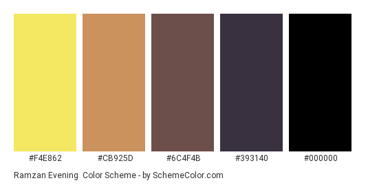 Ramzan Evening - Color scheme palette thumbnail - #F4E862 #CB925D #6C4F4B #393140 #000000